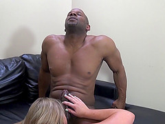 brunettes ball licks then rides black cocks in interracial foursome
