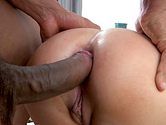 She loves having a hung black guy fuck her tight, white ass