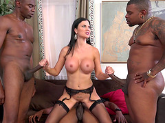 Huge tits milf is a big enough slut to fuck three black guys at once
