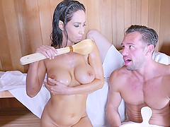 Sexy Isis Love is seduced and penetrated inside the hot sauna
