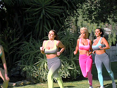 Three busty demoiselles enjoy sharing a throbbing manhood